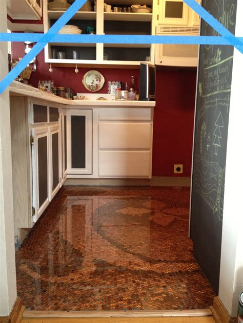 Kitchen Floor Of Pennies 9 best images about copper floors and other copper
