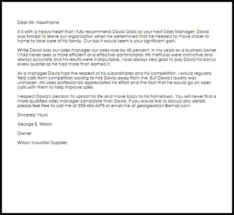 sles of letters of recommendation sales manager recommendation letter exle letter 9761
