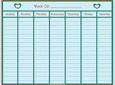 Lined Weekly Calendar Template Calendar 2018 Printable