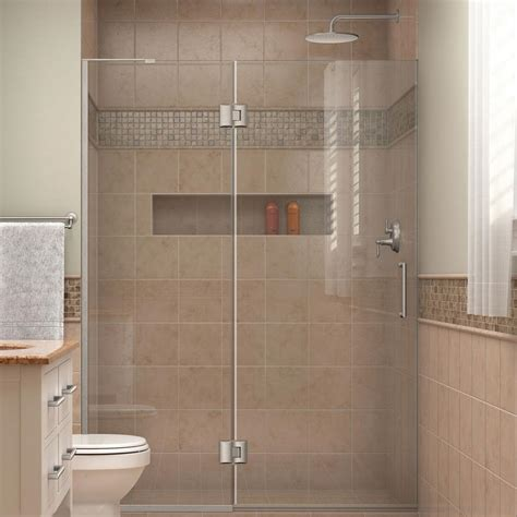 home depot shower doors dreamline unidoor x 47 in x 72 in frameless pivot shower
