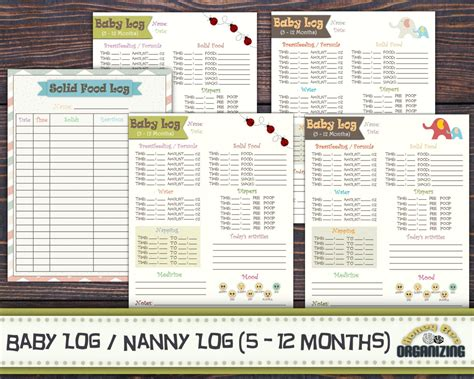 Baby Log 5 12 Months Nanny Log Babys Day Schedule
