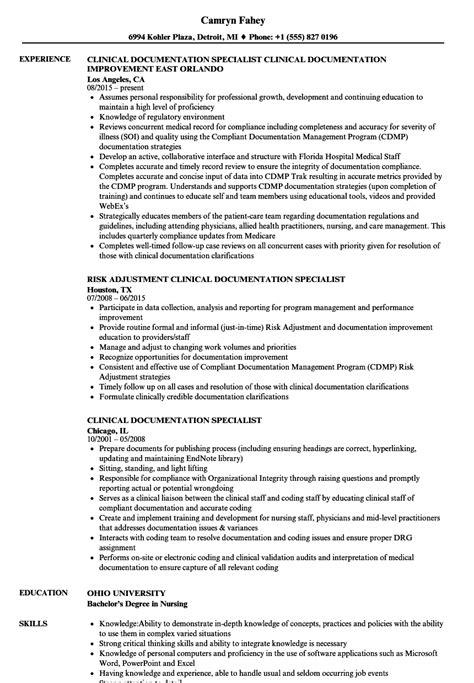clinical documentation specialist resume sles velvet