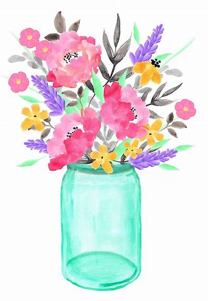 Jar Mason Floral Flowers Wreaths Jars Watercolor