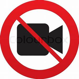 Don`t shoot video. Video camera sign icon. Red prohibition ...