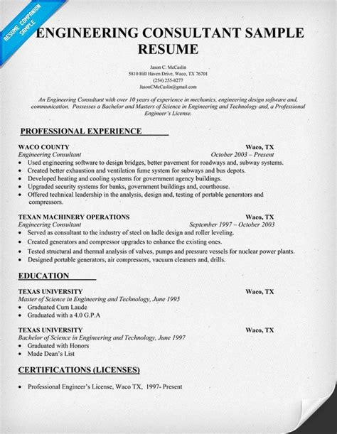 Crusher Plant Engineer Resume by Engineering Consultant Resume Sle Resumecompanion Resume Sles Across All