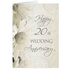 20 year anniversary gift ideas white flowers happy 20th wedding anniversary card zazzle