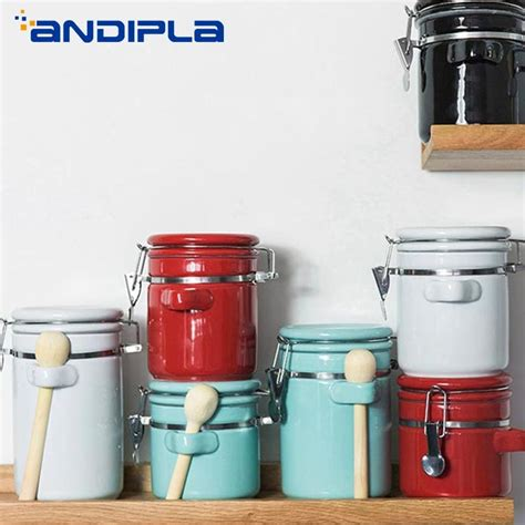 *place the top container over the stemmed disc but do not press it completely to fit the bottom container as this blocks the brewing process. Creative Ceramic Tea Cans Sealed Canister Milk Powder Candy Coffee Beans Jars Food Container ...