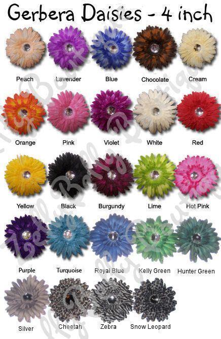 gerbera daisies colors gerbera color chart wedding flowers