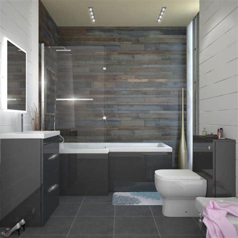 patello grey  shaped shower bath left hand buy