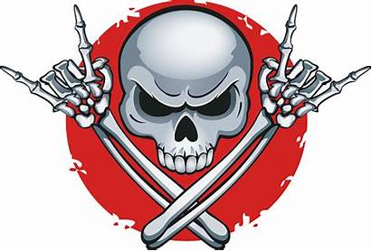 Skeleton Rock Roll Horns Clip Hands Sign