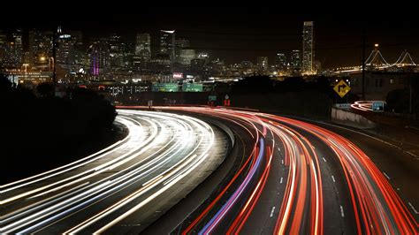 cityscapes skylines night lights california traffic