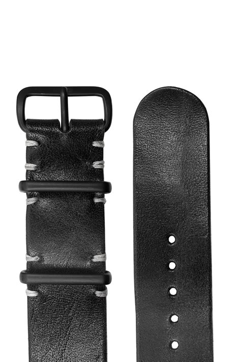 TANNER BATES Leather NATO Watch Strap with Black PVD