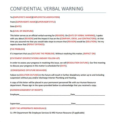 sample verbal warning template  documents