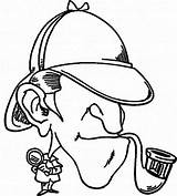 Sherlock Holmes Detective Coloring Pages Drawing Netart Looking Case Printable Getcolorings Getdrawings sketch template