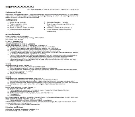 Respiratory Therapist Resume Sles by Respiratory Therapist Resume Sle Experienced