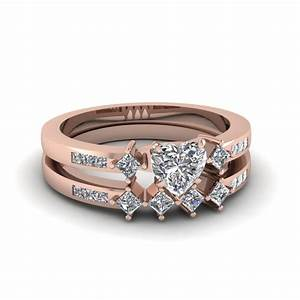 heart shaped kite style channel set accent diamond wedding With heart wedding ring sets