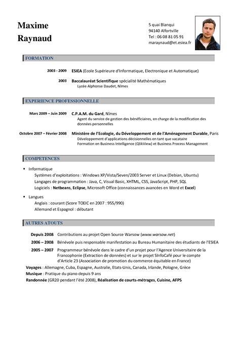 Cv En Francais by Curriculum Vitae Francais Modelo De Curriculum Vitae