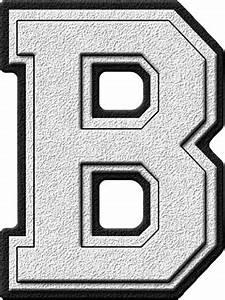 presentation alphabets white varsity letter b With white letter b