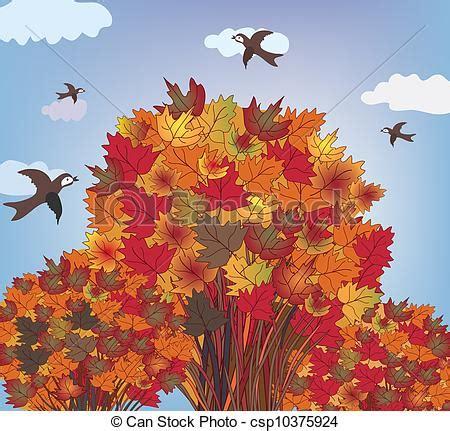 clipart autunno autunno albero uccelli paesaggio