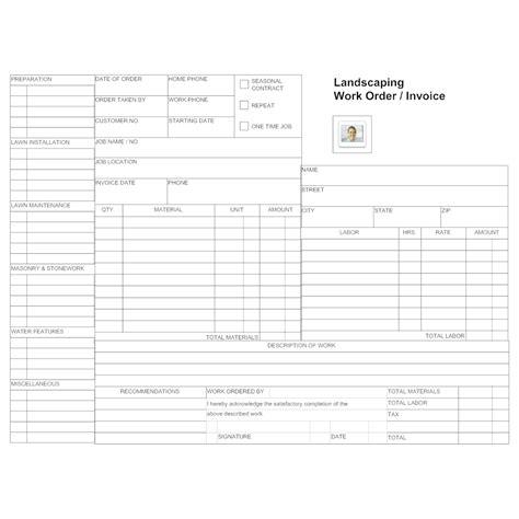 landscaping work order form