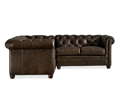pottery barn chesterfield sofa chesterfield leather 3 l shaped sectional pottery barn