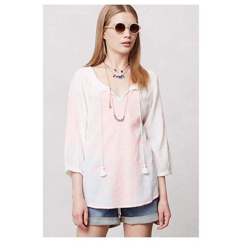 anthropologie blouses anthropologie anthropologie neon stitched peasant blouse