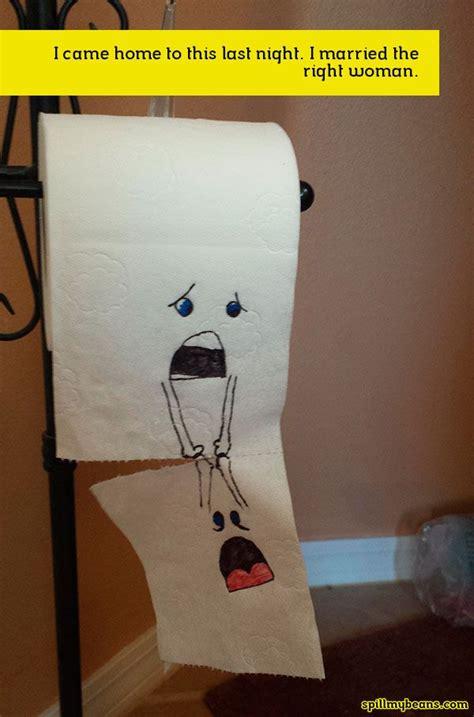 funny toilet paper falling drawing bath joke spill
