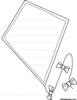 the ends of a kite template high flying kite shape paper coloring sheet with lines for