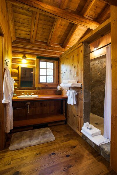 cabin bathroom oakley stone shower idaho rocky