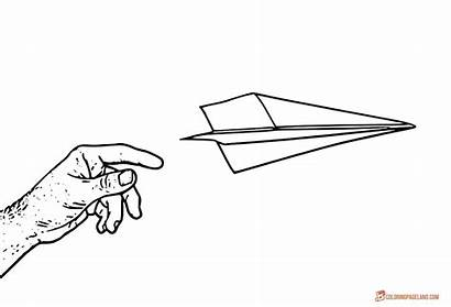 Coloring Paper Airplane Plane Pages Airplanes Printable