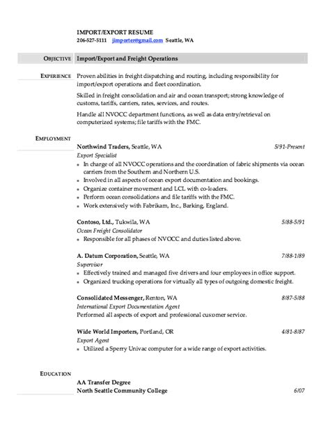 import export assistant resume import export resume sles resumes design