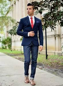Menu0026#39;s Navy Jeans White Dress Shirt Navy Blazer Navy Polka Dot Pocket Square Red Tie and Tan ...