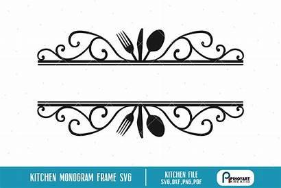 Monogram Split Svg Kitchen Cooking Frame Svgs