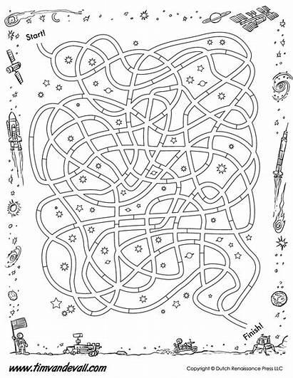 Printable Maze Space Printables Mazes Bw Science