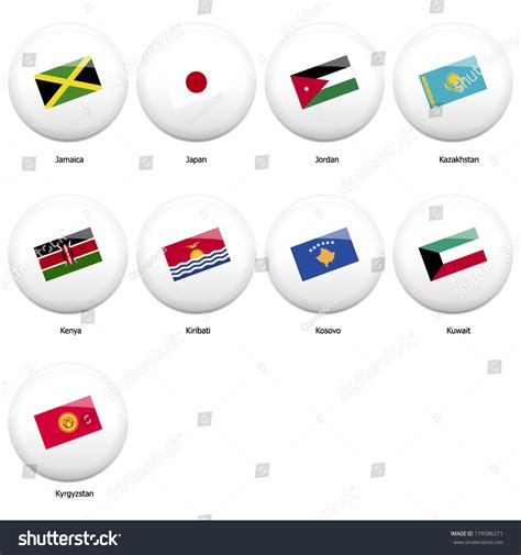 white pin badges with flag of all countries started name