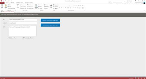 emailing  outlook microsoft access sample code