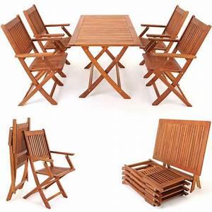 Salon De Jardin Acacia : salon de jardin en bois d 39 39 acacia ensemble table et chaise pliable ext rieur ~ Teatrodelosmanantiales.com Idées de Décoration