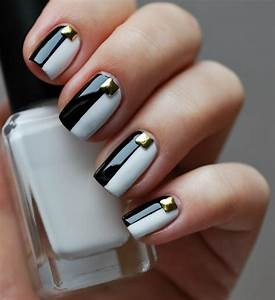 Beautiful black and white nail art designs