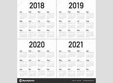 Vetor de calendário ano 2018 2019 2020 2021 — Vetor de