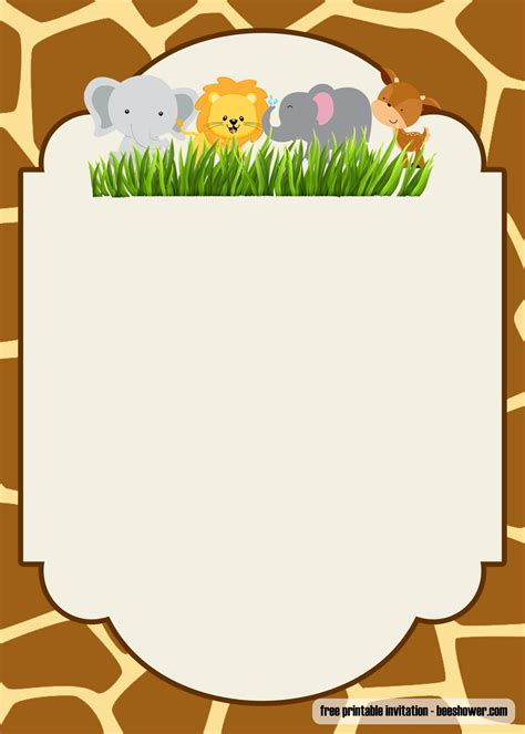 printable safari baby shower invitations templates