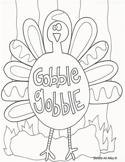 Thanksgiving Coloring Pages Turkey Doodle November Alley