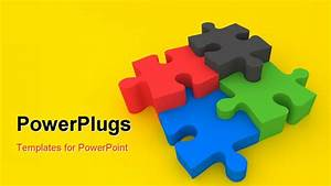 PowerPoint Template: colorful jigsaw pieces over yellow ...