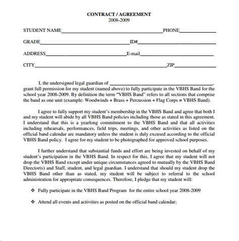band contract templates  ms word google docs