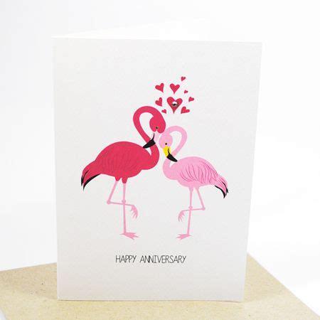 flamingos handmade card anniversary card red pink