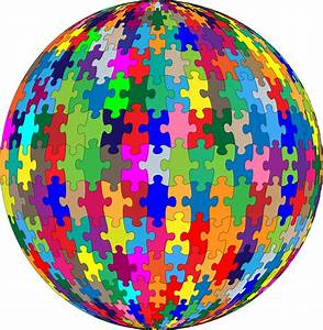 Clipart - Multicolored Jigsaw Puzzle Pieces Sphere