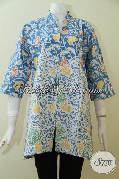 blus batik ukuran besar motif modern  warna biru