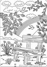 Coloring Farm Scenes Adults Bench Scene Sheets Sheet Cthulhu Line sketch template