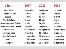 Calendrier 2016 des jours fériés au Canada et au Québec