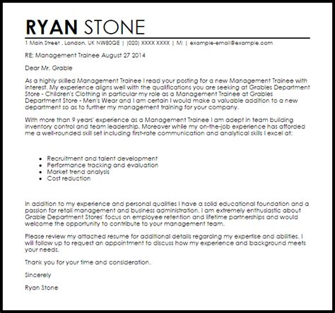 management trainee cover letter sle livecareer