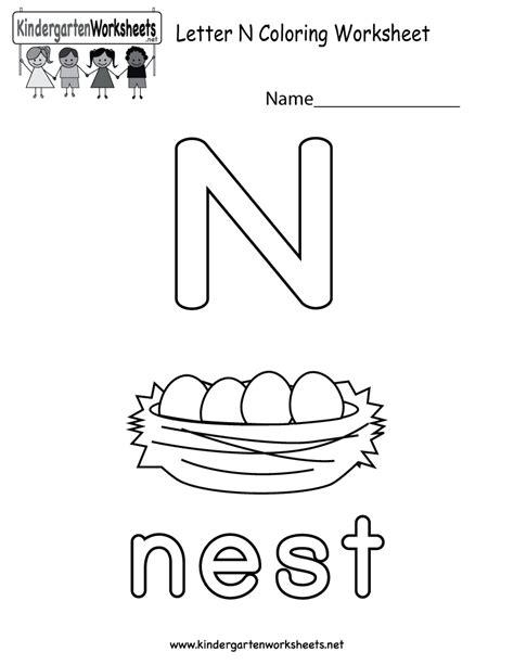 letter n coloring worksheet for preschoolers or
